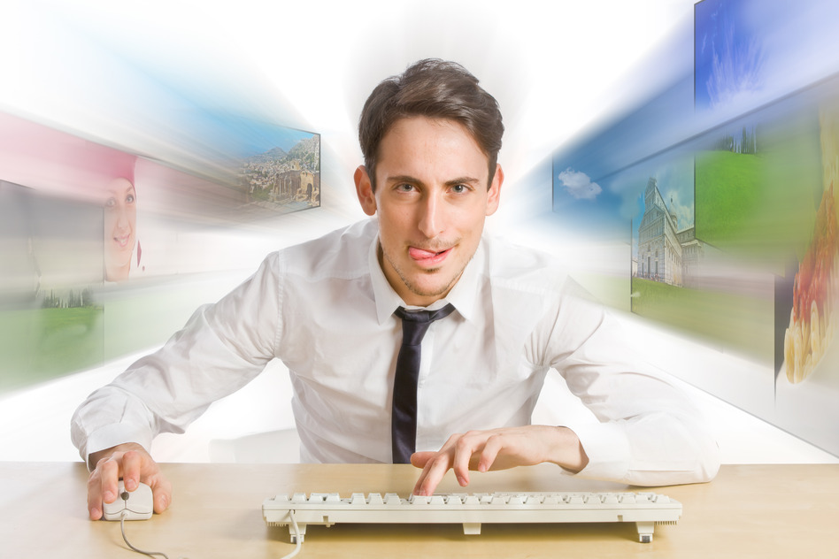 Man searching for answers online
